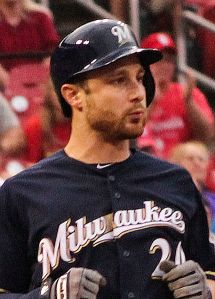 Milwaukee Brewers catcher Jonathan Lucroy set the major league mark for doubles in a season.