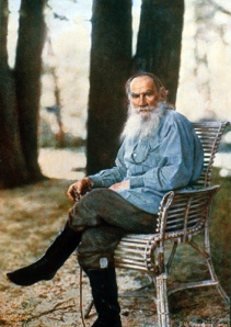 The great writer Leo Tolstoy posed for this picture in 1908.