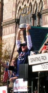 Curt Schilling hoists a trophy during the 2007 World Series parade for the Red Sox.  Schilling also played on World Series winners with the Red Sox in 2004 and the Diamondbacks in 2001.