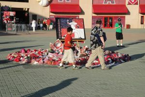 Fans pay respects to the memory of Angels' prospect Nick Adenhart.