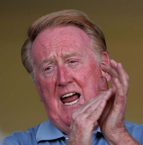 Vin Scully began broadcasting Dodger baseball games in 1950.