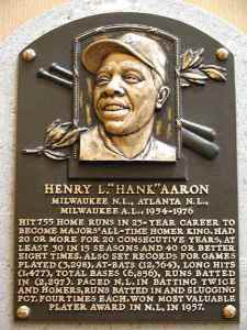 Voters elected Hank Aaron to the Hall of Fame in 1982 with 97.8 percent of the vote.