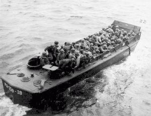 This Higgins boat is carrying troops to Okinawa.