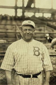 Bain News Service/Brooklyn Dodger Manager Wilbert Robinson's face collided with a piece of fruit on this date in 1915.