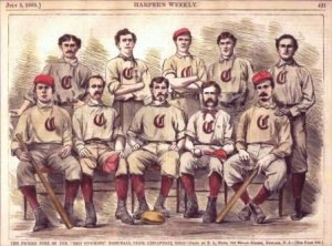 The Cincinnati Red Stockings went undefeated in 1869 as baseball's first professional team.