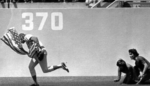 Rick Monday captures the flag in 1976 at Dodger Stadium.
