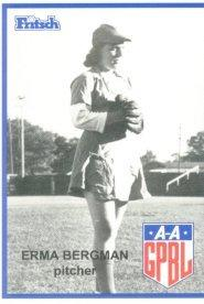 Erma Bergmann hurled a no-hitter in 1947 for the Muskegon Sallies.