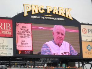The Pirates honored former team executive Joe L. Brown at a ceremony held a few months before his death in 2010.