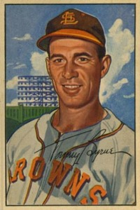 Tommy Byrne pitched for the St. Louis Browns in between stints with the Yankees. The lefty hurled a complete game in Game 2 of the 1955 World Series.