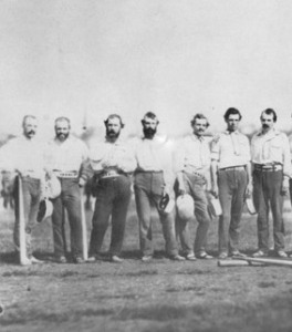 """Doc"" Adams stands in the middle of this group of New York Knickerbockers in 1859."