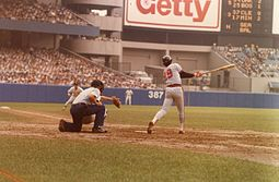 Rod Carew slaps a hit in Yankee Stadium.