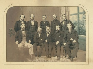 Members of the Knickerbocker Base Ball Club get together for this picture taken in 1862.
