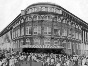 Just more than 6.700 fans attended the final Dodgers game at Ebbets Field, Sept. 24, 1957. (Photo by NY Daily News Archive via Getty Images)