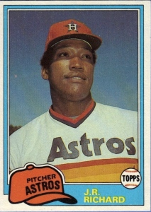 J.R. Richard struck out more than 300 batters twice in his career with the Houston Astros./Topps